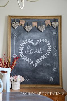 Valentines day chalk board design