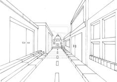 Street View in One Point Perspective by jenthestrawberry