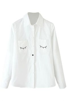 Classic Blouse with Embroidery Eyelash