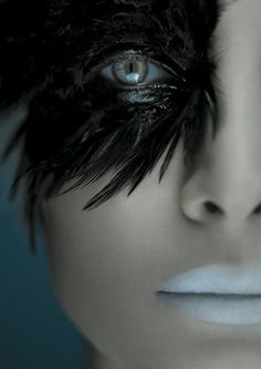 Black feather eyes - could use the same stuff that is used to put on fake eyelashes