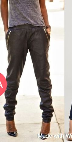 *Black faux leather jogger pants. Featuring elastic waist and cuff, front and back pockets along with zipper detail.* Different sizes available S,M,L Model is wearing size ( S ) Size Chart SIZE XXS (
