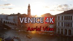 Ultra HD 4K Venice Italy Aerial View Grand Canal Landmarks Travel Sights Day UHD Video Stock Footage