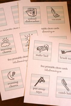 I printed off these FREE chore pictures on card stock........using them for Olivia's home-made chore chart!!!