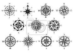 Símbolos bússolas antigas definido nas imagens da myloview. Da melhor qualidade fotomurais, adesivos, coleções myloview, imagens, posters. Quer decorar a sua casa? Só com myloview!