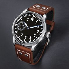 TISELL Pilot 44mm Hand winding asian 6497 movement Super-Luminova