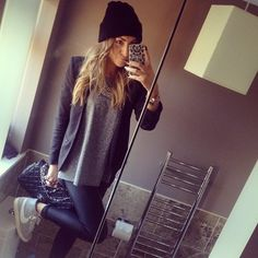 beanie, grey tee, statement necklace, black blazer, chanel bag, leather leggings, nike airs