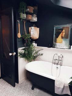 Roll top bath in a modern rustic bathroom in East London with timber cladding and dark walls to give it a sophisticated scandi feel Rustic Bathroom Designs, Boho Bathroom, Bathroom Interior Design, Modern Bathroom, Small Bathroom, Bathroom Ideas, Shower Designs, Bathroom Goals, Bathroom Trends