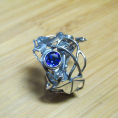 Sterling Silver Brutalist Triple Leaf  Ivy and Blue Sapphire Adjustable Ring