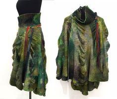 Winter wool wrap, cape skirt green, wool poncho, wool felt cape, winter skirt, summer winter skirt, high waist skirt, wool cape, ana livni