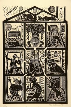 'Paranoia House' Linocut By Jay Luttman-Johnson. I like the idea of multiple blocks used, different ways to create a print like this! Lino Art, Woodcut Art, Linocut Prints, Illustrations, Illustration Art, Linoprint, Scratchboard, Monochrom, Wood Engraving