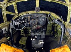 A rare glimpse into the cockpit of a Martin B-26 Marauder. As you can see, the co-pilot does not have an instrument panel and his yoke is side-mounted, providing forward access to the nose gunner and bombardier. The displays were centrally mounted so both pilots could see them.