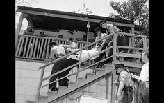 May 8th 1959, authorities remove a woman from her Chavez Ravine home before construction of Dodger Stadium