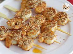 Brochettes de crevettes sauce chinoise - Recette Ptitchef