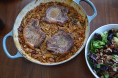 Braised Pork Chops with Bacon, Apples and Cabbage