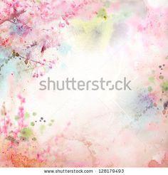 Scenic watercolor background, floral composition Sakura by Guz Anna, via Shutterstock