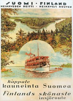Vintage Travel Poster - Suomi - Finland - by Adolf Bock - Poster Ads, New Poster, Helsinki, Finland Travel, Cruise Destinations, Retro Advertising, Worldwide Travel, Old Ads, Rest Of The World