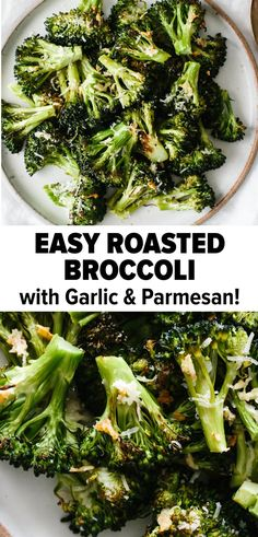 Roasted broccoli with garlic and parmesan is an easy and tasty side dish recipe. There's no doubt this will be a family favorite! Healthy Side Dishes, Vegetable Sides, Vegetable Side Dishes, Side Dish Recipes, Healthy Dinner Recipes, Vegetarian Recipes, Cooking Recipes, Brocolli Side Dishes, Vegan Vegetarian