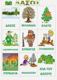 Νηπιαγωγός από τα πέντε...: ΠΕΡΠΑΤΩ ΠΕΡΠΑΤΩ ΜΕΣ ΤΟ ΔΑΣΟΣ.... Learn Greek, Preschool Education, Environmental Education, Trees To Plant, Early Childhood, Activities, Learning, Toys, Blog