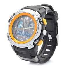 SPORTS DIVING DUAL TIME DISPLAY WRIST WATCH W/ ALARM CLOCK / STOPWATCH