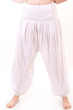 Womens  Cotton Harem Pants with Crochet by Indiancustomemade
