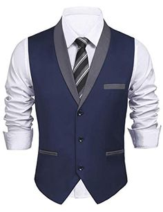 Daupanzees Men& Dress Vest Style Slim Fit Business Suit Rayon Festive Nehru Skinny Formal Waistcoat (Navy Blue M) Blazer Outfits Men, Mens Fashion Blazer, Suit Fashion, Nigerian Men Fashion, Indian Men Fashion, African Clothing For Men, Mens Clothing Styles, Men Dress, Dress Vest