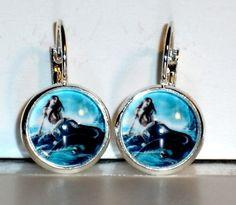Ohrringe - Ohrringe Meerjungfrau Cabochon Glas Ohrschmuck - ein Designerstück von ausgefallene-Ohrringe bei DaWanda