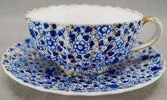 Antique Copeland Cobalt Blue Floral & Gold Floral Chintz Breakfast Cup and Saucer Set. Antique Dishes, Vintage Dishes, Vintage Tea, Tea Cup Set, Cup And Saucer Set, Tea Cup Saucer, Afternoon Delight, Afternoon Tea, Breakfast Cups
