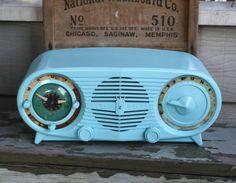 Aqua radio from little vintage trailer