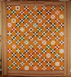The GORGEOUS, VERY EARLY FABRICS, CHEDDAR PRINT BACKGROUND< and GREAT CONDITION make this PRE CIVIL WAR COLLECTOR'S QUILT stand out -- TRULY MUSEUM QUALITY! This ELEGANT cotton nine patch quilt is hand pieced and hand quilted, with a variety of very early fabrics dating from the pre-1830 to 1850 era. | eBay!