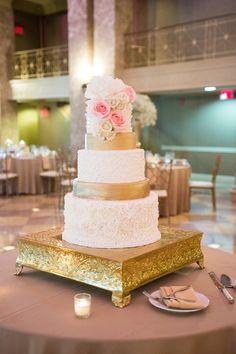 Gold and Rosette Wedding Cake