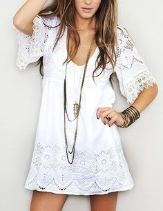 Little white dress, long necklace, plenty of band bracelets, cute summer boho style.  2013 Spring & Summer Fashion Trends.