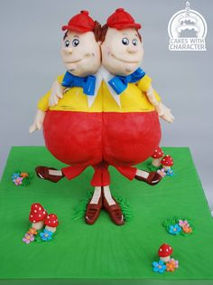 Tweedledee & Tweedledum Cake made by Cakes with Character Alice In Wonderland Party, Occasion Cakes, Edible Art, How To Raise Money, How To Make Cake, Childrens Books, Elf, Fairy Tales, Special Occasion