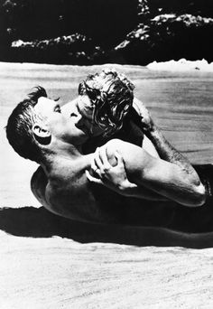 "His sea-soaked embrace was considered quite risqué in 1953, even though the raciest footage ended up on the cutting room floor. What remains is indelible. Deborah Kerr, playing a disaffected army wife, tells her lover (Burt Lancaster), ""I never knew it could be like this. Nobody ever kissed me the way you do."""