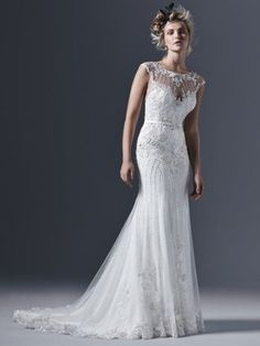 Sottero and Midgley - BECKETT, Glamorous tulle paired with intricate pearls and embellishments create this perfectly romantic sheath wedding dress