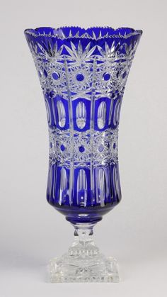 Bohemian cobalt blue to clear crystal footed vase,