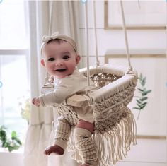 The must haves you need to keep your little one engaged and happy. A rocker for sleep or comfort, a gym for fun time and macrame toy or swing! Baby Room Design, Baby Room Decor, Nursery Room, Girl Nursery, Baby Girl Rooms, Boho Nursery, Babies Nursery, Nursery Design, Woodland Nursery