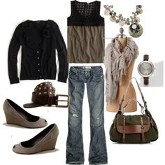 I see outfits like these and think, wow that's really cute, but to actually go in my closet and put it all together, it would NEVER happen! - I need serious help and motivation :)