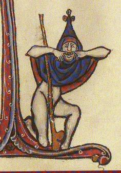 A fool mugging at the reader; Bute Psalter; c. 1270-80