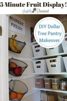 Create a diy farmhouse three tier fruit basket to organize your kitchen or pantry for under 5 dollars.with dollar tree baskets! Great idea from a low budget pantry makeover. Lots of ideas and inspiration for pantry organization and storage. Kitchen Organization Pantry, Pantry Storage, Kitchen Storage, Organized Pantry, Pantry Ideas, Pantry Baskets, Pantry Diy, Dollar Tree Organization, Diy Organization