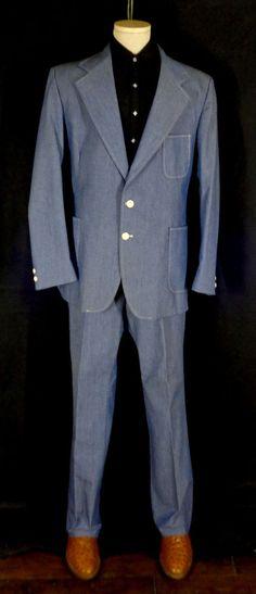 Rare Vintage Men's Wrangler Blue Chambre 2 Piece Suit–46L Blazer–40 Slacks-VLV #Wrangler #Doyoureallyneedone