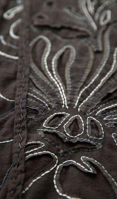 Magdalena cardigan detail.  Variegated thread.