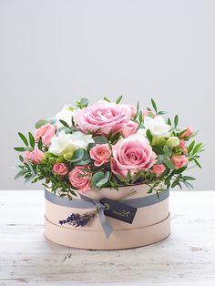 Pink Surprise with Bramble Bear - Interflora Hat Box Flowers, Flower Box Gift, Beautiful Bouquet Of Flowers, Flower Boxes, Pink Flowers, Beautiful Flowers, Pink Flower Arrangements, Flower Centerpieces, Flower Decorations