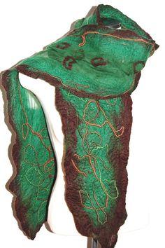 Wool Felted Scarf Green Silk Shawl Silk by LocallySewnTextiles