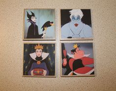 Disney Villains Waterproof Ceramic Coasters by HeighHoGrotto