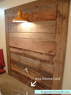 headboard with ikea dimma and light built in