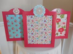 Set of corkboards from a garage sale for .75  Painted same color with coordinating fabric covering the corkboard.