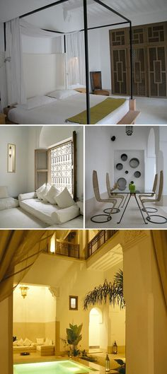 Riad 12 Marrakech Hotel Images via house and home.     design notes:  Low yet modern seating; panelleddetailing on closet/armoire; platform style canopy bed
