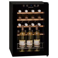 Dunavox's 20 bottle mini wine cooler in black with integrated handle. Shop for Freestanding Compressor Black Wine Fridges from Dunavox. C 18, Champagne Bottles, Black Exterior, Wine Cabinets, Wine Fridge, Mini Bottles, Wine Storage, Wooden Shelves, Glass Door