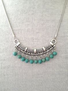 Turquoise Boho Yoga Necklace.
