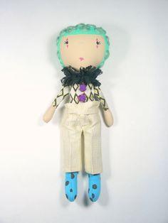 Clown fabric doll, rag doll, soft toy by ohbAbyseattle on Etsy